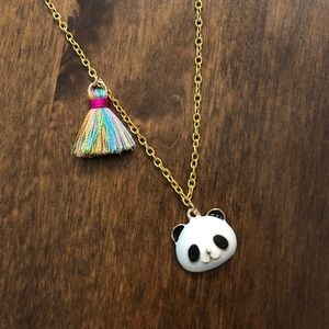 Other - Girls Panda and Colorful Tassel Gold Necklace NWOT